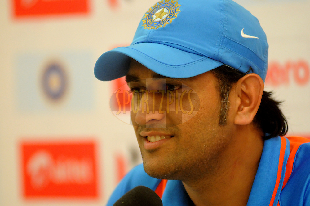 Mahendra Singh Dhoni captain of India during a press conference after the 4th One Day International ( ODI ) match between India and England held at the Wankhede Stadium, Mumbai on the 23rd October 2011..Photo by Pal Pillai/BCCI/SPORTZPICS