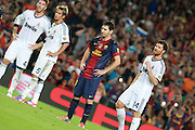Lionel Messi prepares to take a penalty and then scores the second goal for Barcelona. Barcelona v Real Madrid, Supercopa first leg, Camp Nou, Barcelona, 23rd August 2012...Credit : Eoin Mundow/Cleva Media