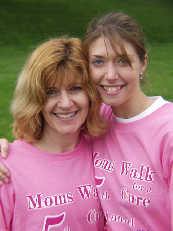 Lindsay Harmon and her mom Saturday morning at the Mom's Walk for the Cure 5k.