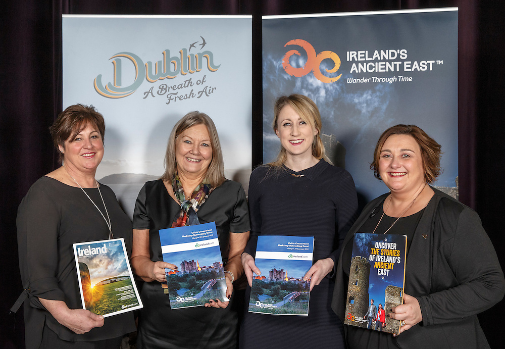 Tourism Ireland Celtic Connections 2016 event in the Corinthian, Glasgow. L to R :  Marie McCarthy  Irish Ferries, Elaine Murray TI, Anne Marie Flynn Deputy Consul General of Ireland and Trish Gill, Hamlet Court Hotel. Picture Robert Perry 27th Jan 2016<br /> <br /> Must credit photo to Robert Perry<br /> <br /> Image is free to use in connection with the promotion of the above company or organisation. 'Permissions for ALL other uses need to be sought and payment make be required.<br /> <br /> <br /> Note to Editors:  This image is free to be used editorially in the promotion of the above company or organisation.  Without prejudice ALL other licences without prior consent will be deemed a breach of copyright under the 1988. Copyright Design and Patents Act  and will be subject to payment or legal action, where appropriate.<br /> www.robertperry.co.uk<br /> NB -This image is not to be distributed without the prior consent of the copyright holder.<br /> in using this image you agree to abide by terms and conditions as stated in this caption.<br /> All monies payable to Robert Perry<br /> <br /> (PLEASE DO NOT REMOVE THIS CAPTION)<br /> This image is intended for Editorial use (e.g. news). Any commercial or promotional use requires additional clearance. <br /> Copyright 2015 All rights protected.<br /> first use only<br /> contact details<br /> Robert Perry     <br /> 07702 631 477<br /> robertperryphotos@gmail.com<br />        <br /> Robert Perry reserves the right to pursue unauthorised use of this image . If you violate my intellectual property you may be liable for  damages, loss of income, and profits you derive from the use of this image.