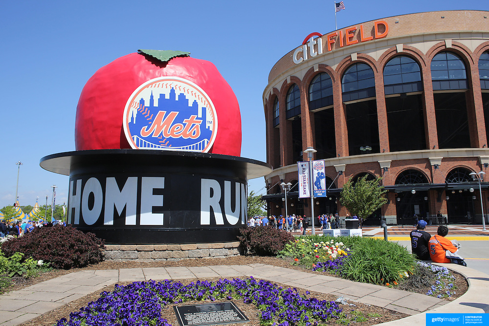 """Citi Field, home of the New York Mets, with the """"Home Run Big Apple' in front of the stadium before the New York Mets V Pittsburgh Pirates Baseball game at Citi Field, Queens, New York. USA. 12th May 2013. Photo Tim Clayton"""