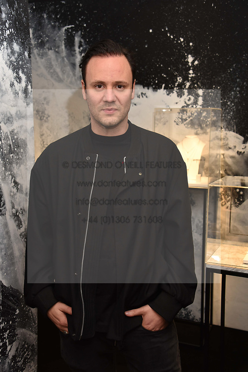 Nicholas Kirkwood at a party hosted by Nicholas Kirkwood and Eva Fehren to celebrate Part 2 in the Nicholas Kirkwood presents series held at Nicholas Kirkwood, 5 Mount Street, London England. Eva Fehren is a fine jeweller, born and raised in New York City. Her collections are both inspired and created in the city, and via the Nicholas Kirkwood store, it is the first opportunity to view and shop the collection in London. 9 November 2017.