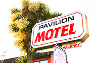 A rusty vacancy sign on the Pavilion Motel in Palmerston North, New Zealand.
