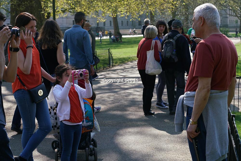 London,England,UK.9th April 2017. Tourists enjoy sunshine, sunbathe and eating ice-cream in St James Park, London,UK. by See Li