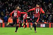 Goal - Joshua King (17) of AFC Bournemouth celebrates scoring a goal to make the score 1-2 with Jermain Defoe (18) of AFC Bournemouth during the Premier League match between Bournemouth and Burnley at the Vitality Stadium, Bournemouth, England on 29 November 2017. Photo by Graham Hunt.