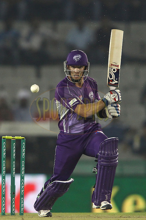 Hobart Hurricanes captain Tim Paine sets off for a run during match 2 of the Oppo Champions League Twenty20 between the Kings XI Punjab and the Hobart Hurricanes held at the Punjab Cricket Association Stadium, Mohali, India on the 18th September 2014<br /> <br /> Photo by:  Shaun Roy / Sportzpics/ CLT20<br /> <br /> <br /> Image use is subject to the terms and conditions as laid out by the BCCI/ CLT20.  The terms and conditions can be downloaded here:<br /> <br /> http://sportzpics.photoshelter.com/gallery/CLT20-Image-Terms-and-Conditions-2014/G0000IfNJn535VPU/C0000QhhKadWcjYs