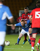 06/10/2017 - St Johnstone v Dundee - Dave Mackay testimonial at McDiarmid Park, Perth, Picture by David Young - Dundee assistant manager Graham Gartland holds down St Johnstone's Nathan Lownes