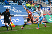 Bradford City forward Alex Jones (19) appeals for the throw in against Coventry City defender Chris Stokes (3)  during the EFL Sky Bet League 1 match between Coventry City and Bradford City at the Ricoh Arena, Coventry, England on 11 March 2017. Photo by Simon Davies.