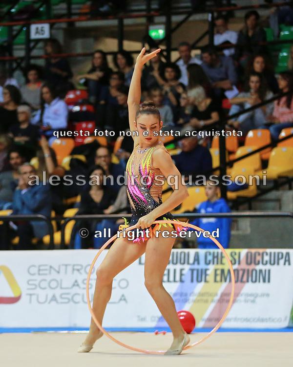 Carlotta Pellissier atleta della società Eurogymnica di Torino durante la seconda prova del Campionato Italiano di Ginnastica Ritmica.<br /> La gara si è svolta a Desio il 31 ottobre 2015.