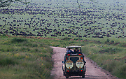 Africa, Tanzania, Lake Manyara National Park tourists in a safari jeep looking at wildlife