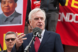 London, UK. 1st May, 2019. Shadow Chancellor John McDonnell addresses representatives of trade unions and socialist and communist parties from many different countries attending the annual May Day rally in Trafalgar Square to mark International Workers' Day.