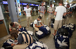 Members of Slovenian Rowing Olympic Team at departure to Beijing 2008 Olympic games, on July 31, 2008, at Airport Jozeta Pucnika, Brnik, Slovenia. (Photo by Vid Ponikvar / Sportal Images)/ Sportida)