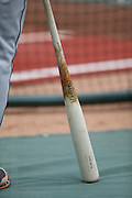 ANAHEIM, CA - APRIL 14:  Closeup photo of a baseball bat during batting practice before the Los Angeles Angels of Anaheim game against the Houston Astros on Sunday, April 14, 2013 at Angel Stadium in Anaheim, California. The Angels won the game 4-1. (Photo by Paul Spinelli/MLB Photos via Getty Images)