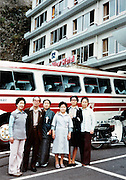 tourists in front of hotel Japan ealy 1980s