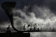'Fogbridge' by Fujiko Nakaya.<br /> An art installation on Pero's Bridge in Bristol, February 2015.<br /> Presented by 'In Between Time'. <br /> <br /> Over 40 years, Nakaya has used fog as a sculptural medium. Collaborating with the elements, Fujiko&rsquo;s clouds are created by water pumped at high pressure through many micro-fine nozzles. <br /> A special guest in Bristol, Nakaya&rsquo;s long career has seen partnerships with a host of renowned artists and architects including Robert Rauschenberg, Trisha Brown and Bill Viola.