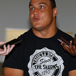 DURBAN, SOUTH AFRICA, Tuesday, 23rd February 2016 -  Coenie Oosthuizen during The Cell C Sharks  Media Interviews in The Sharks Gym,and<br /> Pre Season training for the 2016 Super Rugby Season at Growthpoint Kings Park in Durban, South Africa. (Photo by Steve Haag)<br /> images for social media must have consent from Steve Haag