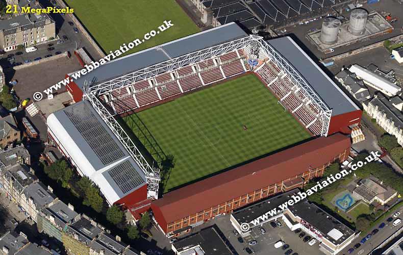 aerial photograph of Hearts FC Tynecastle Stadium  Edinburgh Scotland