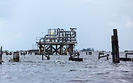 Oil and Gas industry platform at the mouth of Rattlesnake Bayou.