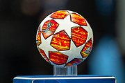 The Champions League ball before the Champions League quarter-final leg 2 of 2 match between Manchester City and Tottenham Hotspur at the Etihad Stadium, Manchester, England on 17 April 2019.