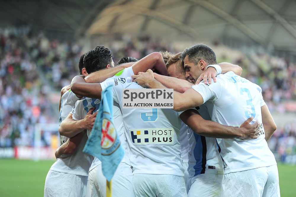 Paulo Retre, Aaron Mooy celebrates the goal with scorer Harry Novillo, Aaron Hughes of Melbourne City in the Hyundai A-League, January 9th 2016, RD14 match between Melbourne City FC v Western Sydney Wanderers FC at Aami Park in a 3:2 win to City. Melbourne, Australia. © Mark Avellino | SportPix.org.uk