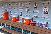 ANAHEIM, CA - JUNE 05:  The Los Angeles Angels of Anaheim dugout is lined with gum, drinks, and drink coolers for the Angels game against the New York Yankees on June 5, 2011 at Angel Stadium in Anaheim, California. The Yankees won the game 5-3. (Photo by Paul Spinelli/MLB Photos via Getty Images)