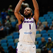Reno Bighorns Guard AARON HARRISON (1) shoots from outside during the NBA G-League Basketball game between the Reno Bighorns and the Oklahoma City Blue at the Reno Events Center in Reno, Nevada.