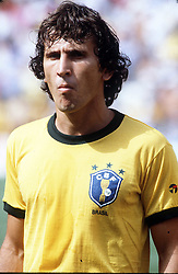 Zico lines up for Brazil before the World Cup match between Brazil and Italy, World Cup 1982.