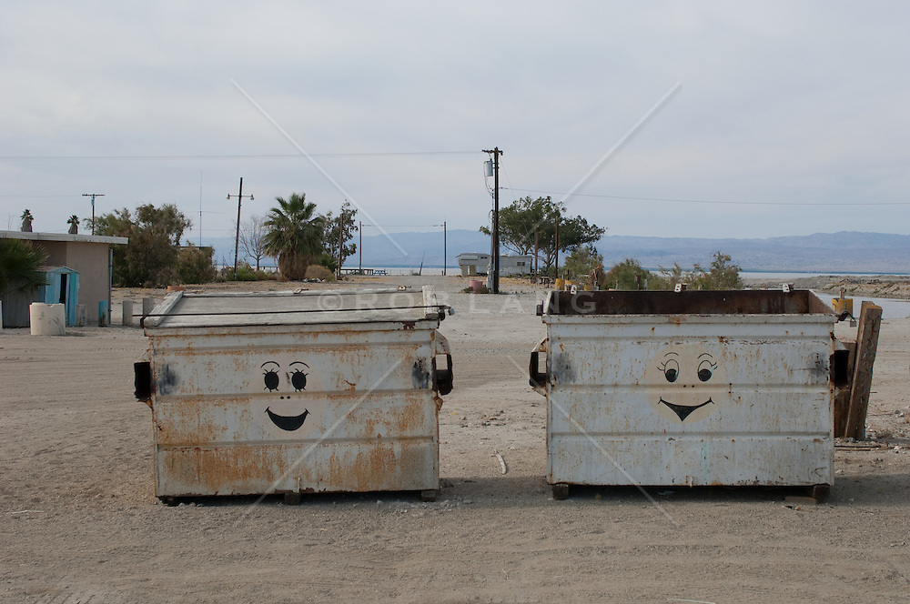 smile faces on dumpsters at the Salton Sea, CA