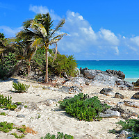 First Spanish Sighting of Mayan City of Tulum, Mexico <br /> Many Mayan cities were in decline towards the end of the Classic Period which ended in 950 AD. But Tulum was thriving throughout the Late Post-Classic Period defined as 1,200 until 1539 AD. On May 7, 1518, the Spanish conquistador Juan de Grijalva saw this beach as his fleet of four ships explored the Quintana Roo coast. He declared the city at the top of the 40 foot cliff to be as grand as Seville, Spain. That day marked the beginning of the end. Within 70 years, Zam&aacute; was abandoned. Excavations did not start until the early 20th century.