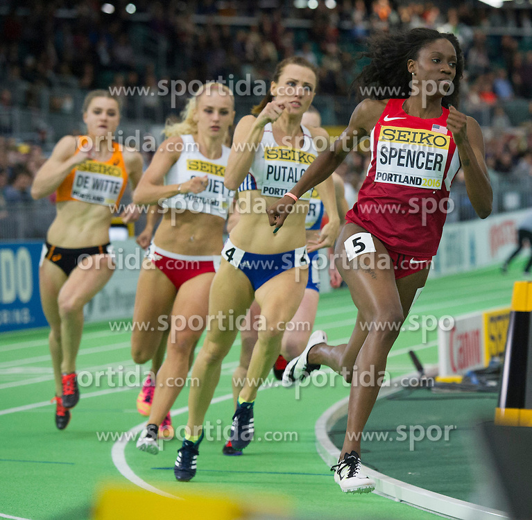 Ashley Spencer(1st, R) of the United States competes in the Women's 400 Metres Semi-Final during day two of the IAAF World Indoor Championships at Oregon Convention Center in Portland, Oregon, the United States, on March 18, 2016. EXPA Pictures &copy; 2016, PhotoCredit: EXPA/ Photoshot/ Yang Lei from Chongqing<br /> <br /> *****ATTENTION - for AUT, SLO, CRO, SRB, BIH, MAZ, SUI only*****