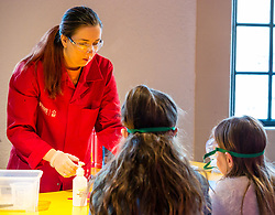 City Arts Centre, Edinburgh, Scotland, United Kingdom, 9 April 2019. Edinburgh Science Festival:  Science Communicator entertains children at Splat-Tastic chemistry goo workshop at the Science Festival. <br /> <br /> Sally Anderson | EdinburghElitemedia.co.uk