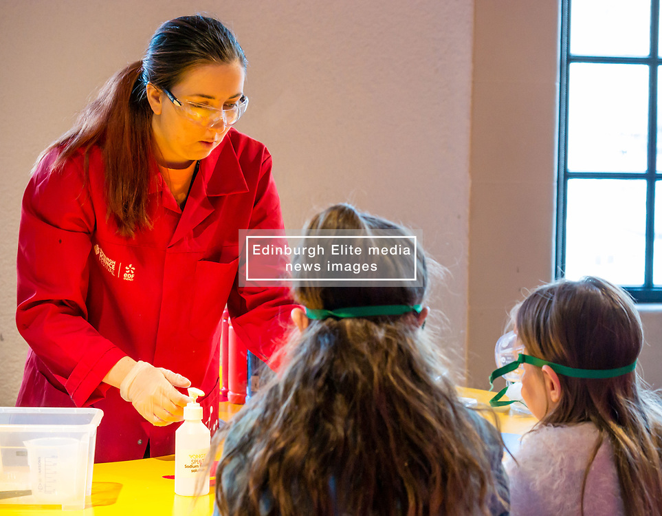 City Arts Centre, Edinburgh, Scotland, United Kingdom, 9 April 2019. Edinburgh Science Festival:  Science Communicator entertains children at Splat-Tastic chemistry goo workshop at the Science Festival. <br /> <br /> Sally Anderson   EdinburghElitemedia.co.uk