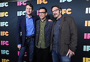 Scott Aukerman, left, of Comedy Bang! Bang!, Fred Armisen, center, of Portlandia, and Marc Maron, of Maron, attend the IFC Upfront 2014 event, Thursday, March 20, 2014, at Roseland Ballroom in New York.  (Photo by Diane Bondareff/Invision for IFC/AP Images)