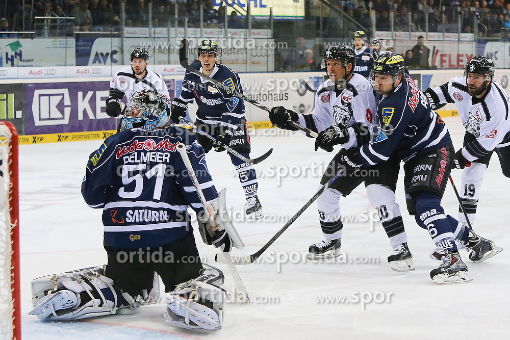 02.11.2014, Saturn Arena, Ingolstadt, GER, DEL, ERC Ingolstadt vs Thomas Sabo Ice Tigers, 16. Runde, im Bild Connor James (Nr.20, Thomas Sabo Ice Tigers) kann den Puck nicht hinter Torhueter Timo Pielmeier (Nr.51, ERC Ingolstadt) unterbringen - Michel Periard (Nr.6, ERC Ingolstadt) kann dies verhindern // during Germans DEL Icehockey League 16th round match between ERC Ingolstadt and Thomas Sabo Ice Tigers at the Saturn Arena in Ingolstadt, Germany on 2014/11/02. EXPA Pictures © 2014, PhotoCredit: EXPA/ Eibner-Pressefoto/ Strisch<br /> <br /> *****ATTENTION - OUT of GER*****