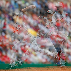 Mar 12, 2013; Clearwater, FL, USA; (editors note: multiple exposure image) Detroit Tigers starting pitcher Drew Smyly (33) throws against the Philadelphia Phillies during the bottom of the second inning of a spring training game at Bright House Field. Mandatory Credit: Derick E. Hingle-USA TODAY Sports