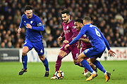 Ilkay Gundogan (8) of Manchester City and Raheem Sterling (7) of Manchester City on the attack atking on Sean Morrison (4) of Cardiff City and Ashley Richards (6) of Cardiff City during the The FA Cup 4th round match between Cardiff City and Manchester City at the Cardiff City Stadium, Cardiff, Wales on 28 January 2018. Photo by Graham Hunt.