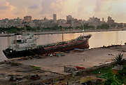 A view across from East Havana towards the Malecon, Havana's curved promenade on the Caribbean.