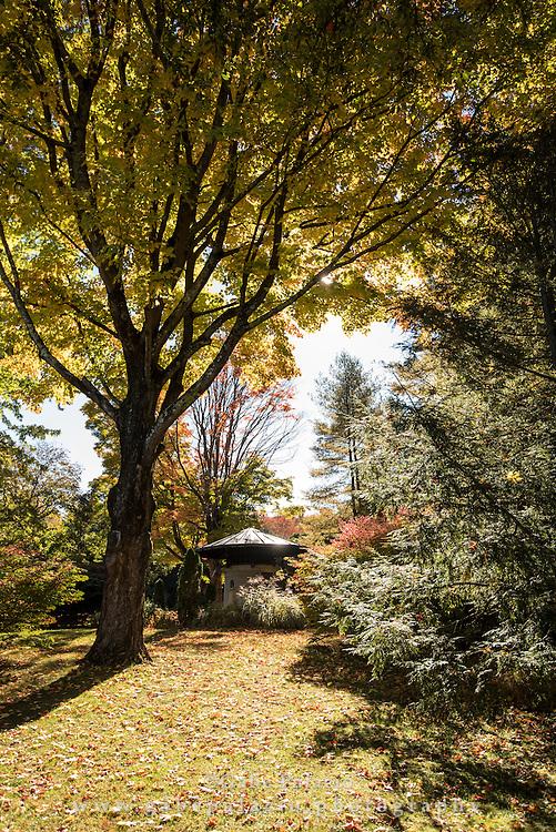 Autumn colors surround the Sense Circle at Caramoor in Katonah New York on October 19, 2015. <br /> (photo by Gabe Palacio)