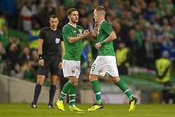November 15, 2018 - Dublin, Ireland - Glenn Whelan and Robbie Brady of Ireland during the International Friendly match between Republic of Ireland and Northern Ireland at Aviva Stadium in Dublin, Ireland on November 15, 2018  (Credit Image: © Andrew Surma/NurPhoto via ZUMA Press)