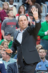Notre Dame head coach Mike Brey. <br /> <br /> The University of Louisville hosted Notre Dame, Wednesday, March 04, 2015 at Yum Center in Louisville. <br /> <br /> Photo by Jonathan Palmer