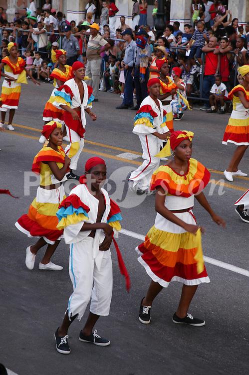 Men and women dancing in costume at Carnival; Havana; Cuba,