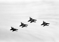 F15 Eagles, USAF Jets, giving a performance at the Air Spectacular in Fairyhouse, Meath, as spectators below follow their flight, 22/08/1982 (Part of the Independent Newspapers Ireland/NLI Collection).