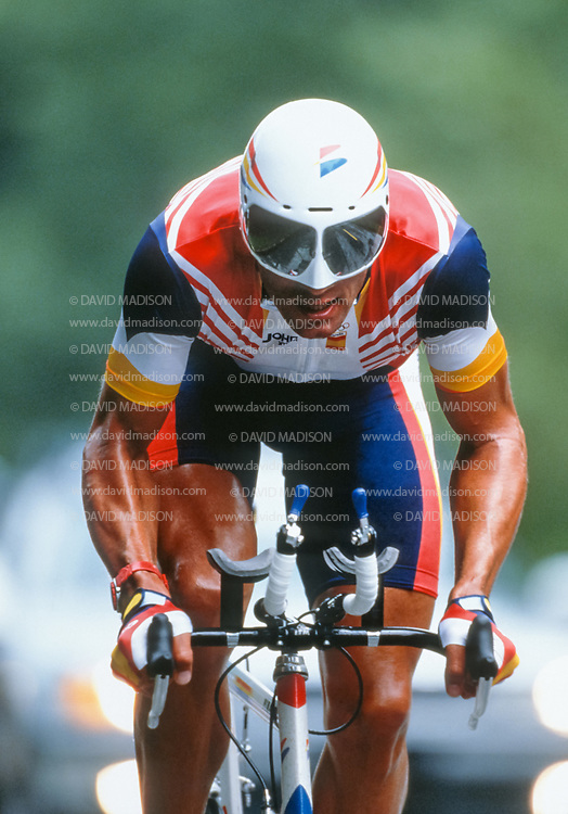 ATLANTA - AUGUST 3:  Miguel Indurain of Spain rides to an Olympic gold medal in the Individual Time Trial of the Cycling competition of the 1996 Summer Olympics on August 3, 1996 on a course in the Buckhead area of Atlanta, Georgia.  (Photo by David Madison/Getty Images)