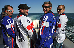 Poloncic (18), Golicic (17), Rebolj (27) and Razingar (9) at whale watching boat when they were celebrating an aniversary of playing for Slovenian National Team for 100 (120) times, during IIHF WC 2008 in Halifax,  on May 07, 2008, sea at Halifax, Nova Scotia,Canada.(Photo by Vid Ponikvar / Sportal Images)