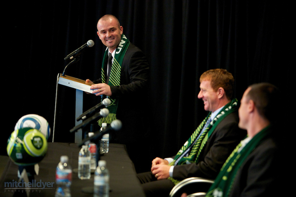 Press Conference to announce new Timbers MLS head coach John Spencer. Photo by Portland Oregon Photographer Craig Mitchelldyer www.craigmitchelldyer.com 503.513.0550