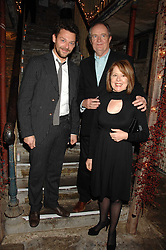Left to right, actor RICHARD COYLE, actor JIM BROADBENT and his wife ANASTASIA at a reception to Discover Wilton's Music Hall held at the hall in Graces Alley, London E1 on 5th December 2007.<br />