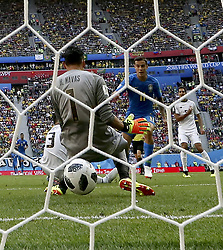 SAINT PETERSBURG, June 22, 2018  Philippe Coutinho (2nd R) of Brazil shoots to score during the 2018 FIFA World Cup Group E match between Brazil and Costa Rica in Saint Petersburg, Russia, June 22, 2018. Brazil won 2-0. (Credit Image: © Cao Can/Xinhua via ZUMA Wire)