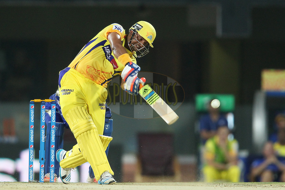Suresh Raina of Chennai Super Kings hits over the top for a boundary during match 43 of the Pepsi IPL 2015 (Indian Premier League) between The Chennai Super Kings and The Mumbai Indians held at the M. A. Chidambaram Stadium, Chennai Stadium in Chennai, India on the 8th May April 2015.<br /> <br /> Photo by:  Shaun Roy / SPORTZPICS / IPL