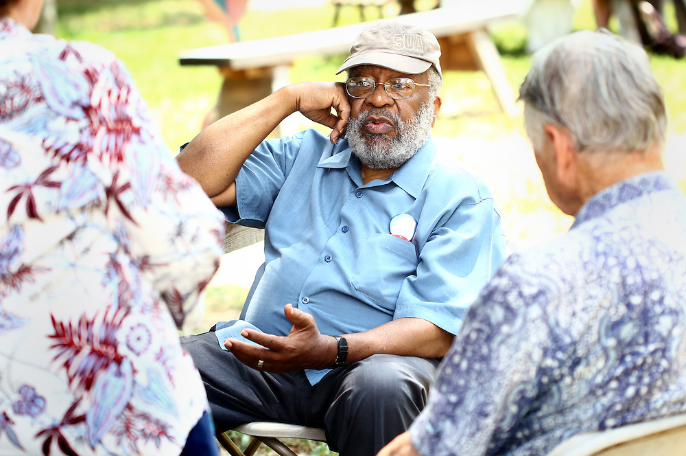 Historian, scholar and activist Vincent Gordon Harding speaks with festival attendees at the Wild Goose Festival at Shakori Hills in North Carolina June 24, 2011.  Harding led a prayer to open the festival and participated as a speaker.  (Photo by Courtney Perry)