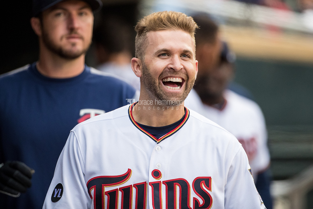 MINNEAPOLIS, MN- APRIL 3: Brian Dozier #2 of the Minnesota Twins looks on against the Kansas City Royals on April 3, 2017 at Target Field in Minneapolis, Minnesota. The Twins defeated the Royals 7-1. (Photo by Brace Hemmelgarn) *** Local Caption *** Brian Dozier